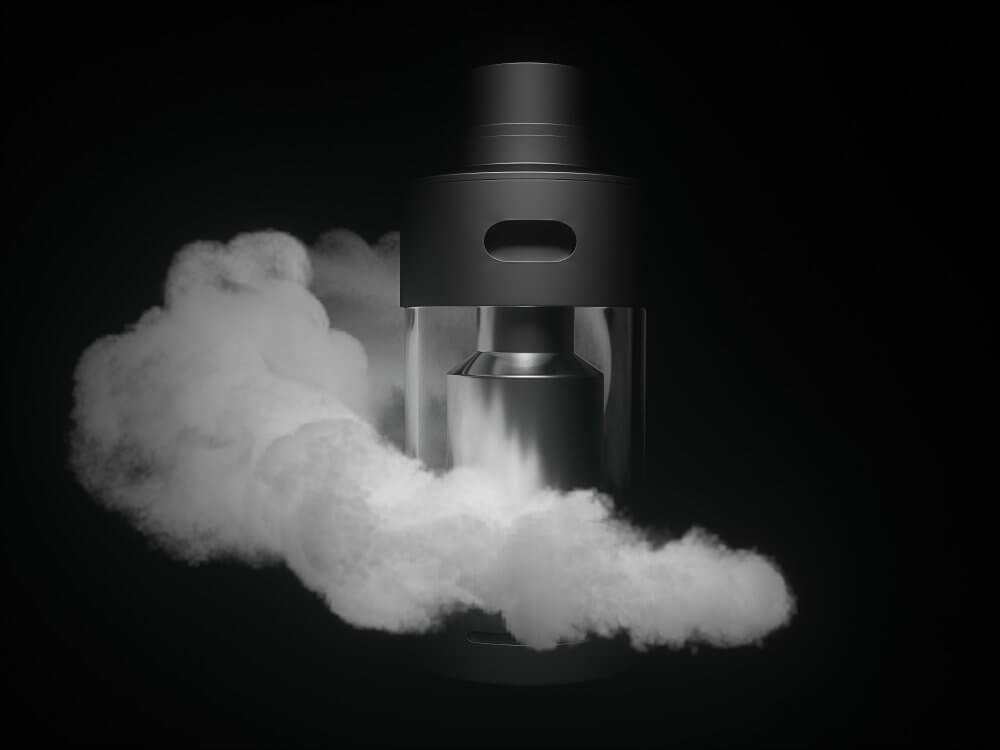 vape tank and vapor clouds