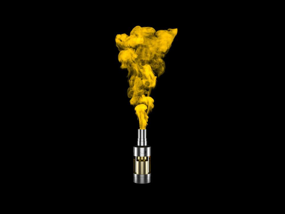 vape tank with yellow vapor