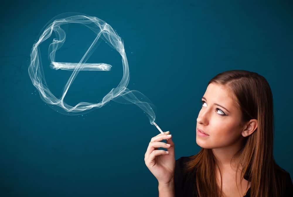 quitting smoking sign with smoke image
