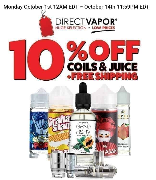 10% on ALL Coils & E-Liquids, plus Free Shipping image