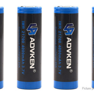 Authentic ADVKEN 21700 3.7V 20A 4000mAh Rechargeable Battery (4-Pack)