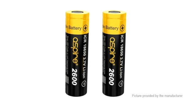 Authentic Aspire ICR 18650 3.7V 2600mAh Rechargeable Li-ion Battery (2-Pack)