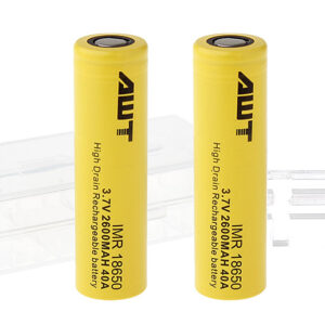 Authentic Aweite AWT IMR 18650 3.7V 2600mAh Rechargeable Li-Mn Battery (2-Pack)