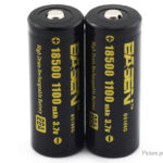 Authentic BASEN IMR 18500 3.7V 1100mAh Rechargeable Li-ion Battery (2-Pack)
