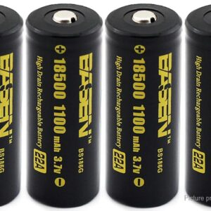 Authentic BASEN IMR 18500 3.7V 1100mAh Rechargeable Li-ion Battery (4-Pack)