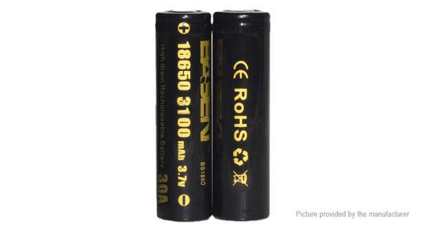 Authentic BASEN IMR 18650 3.7V 3100mAh Rechargeable Li-Mn Batteries (2-Pack)