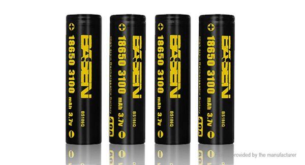Authentic BASEN IMR 18650 3.7V 3100mAh Rechargeable Li-Mn Batteries (4-Pack)