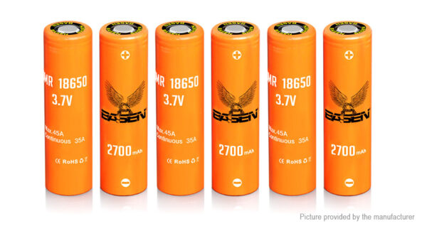Authentic Basen IMR 18650 3.7V 2700mAh Rechargeable Li-ion Battery (6-Pack)