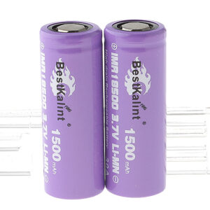 "Authentic BestKalint IMR 18500 3.7V ""1500mAh"" Rechargeable Li-Mn Batteries (2-Pack)"