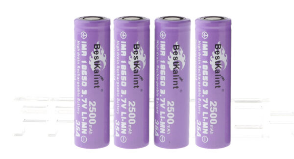 "Authentic BestKalint IMR 18650 3.7V ""2500mAh"" Rechargeable Li-Mn Batteries (4-Pack)"