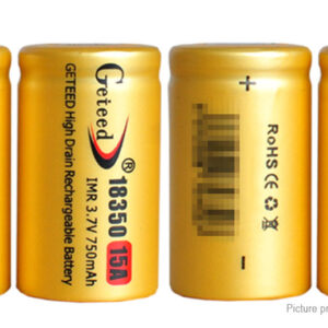 Authentic Geteed IMR 18350 3.7V 750mAh Rechargeable Li-ion Batteries (4-Pack)