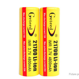 Authentic Geteed IMR 21700 3.7V 4800mAh Rechargeable Li-ion Batteries (2-Pack)