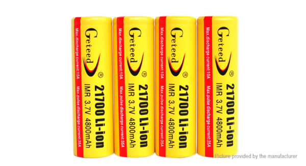 Authentic Geteed IMR 21700 3.7V 4800mAh Rechargeable Li-ion Batteries (4-Pack)