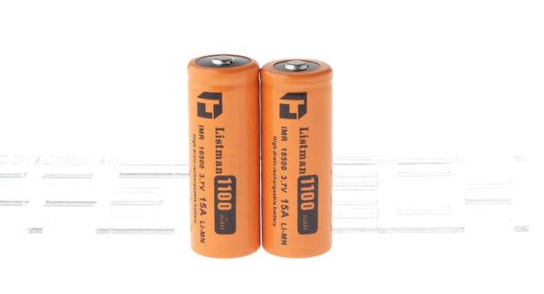 Authentic Listman IMR 18500 3.7V 1100mAh Rechargeable Li-Mn Batteries (2-Pack)