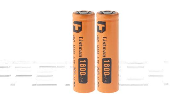 "Authentic Listman IMR 18650 3.7V ""1600mAh"" Rechargeable Li-Mn Batteries (2-Pack)"