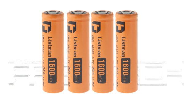 "Authentic Listman IMR 18650 3.7V ""1600mAh"" Rechargeable Li-Mn Batteries (4-Pack)"