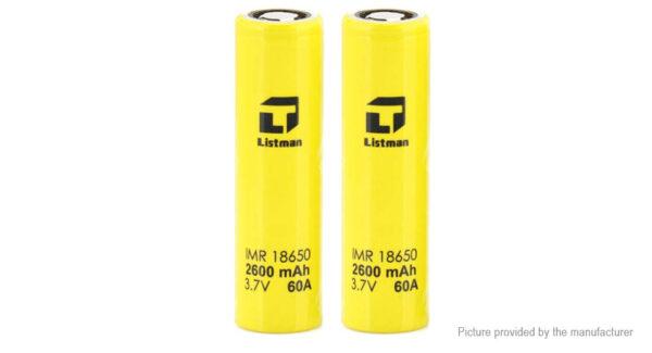 Authentic Listman IMR 18650 3.7V 2600mAh Rechargeable Li-Mn Batteries (2-Pack)
