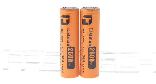 "Authentic Listman IMR 18650 3.7V ""2600mAh"" Rechargeable Li-Mn Batteries (2-Pack)"