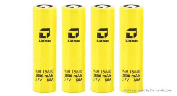 Authentic Listman IMR 18650 3.7V 2600mAh Rechargeable Li-Mn Batteries (4-Pack)