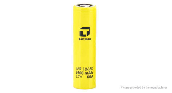 Authentic Listman IMR 18650 3.7V 2600mAh Rechargeable Li-Mn Battery