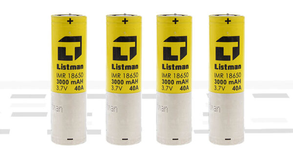 Authentic Listman IMR 18650 3.7V 3000mAh Rechargeable Li-Mn Batteries (4-Pack)