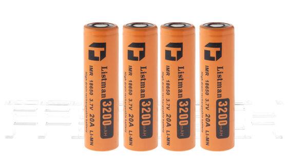 "Authentic Listman IMR 18650 3.7V ""3200mAh"" Rechargeable Li-Mn Batteries (4-Pack)"