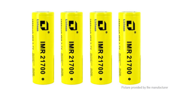 Authentic Listman IMR 21700 3.7V 3800mAh Rechargeable Li-Mn Batteries (4-Pack)