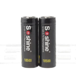 Authentic Soshine 18500 3.7V 1400mAh Rechargeable Li-ion Batteries (2-Pack)