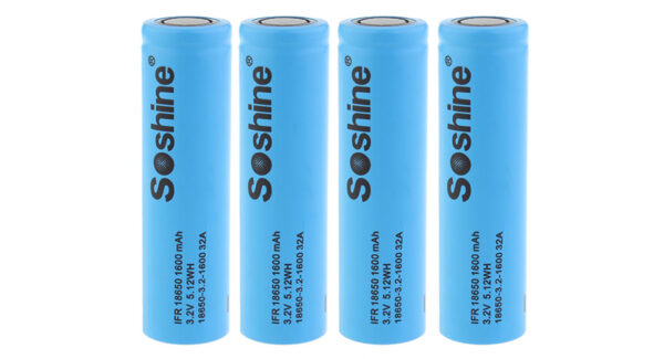 Authentic Soshine 18650 3.2V 1600mAh Rechargeable LiFePO4 Battery (4-Pack)
