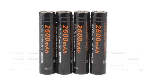 "Authentic Soshine 18650 3.7V ""2600mAh"" Rechargeable Li-ion Batteries (4-Pack)"
