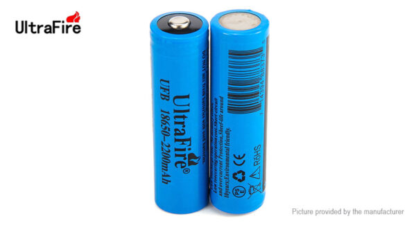 Authentic UltraFire UFB 18650 3.7V 2200mAh Rechargeable Li-ion Battery (2-Pack)