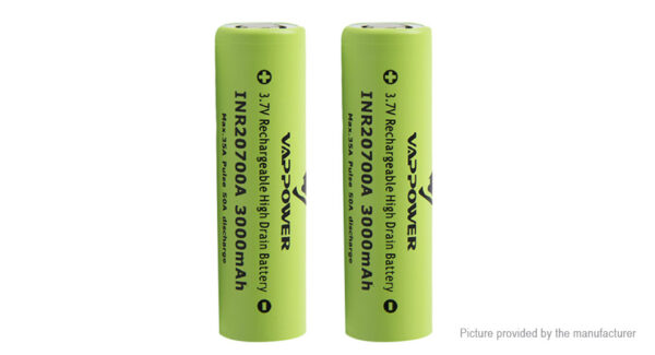 """Authentic VAPPOWER 20700 3.7V """"3000""""mAh Rechargeable Li-Ion Battery (2-Pack)"""