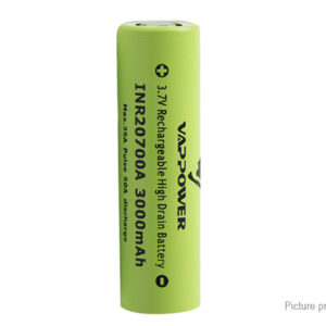 "Authentic VAPPOWER 20700 3.7V ""3000""mAh Rechargeable Li-Ion Battery"
