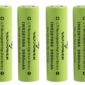 """Authentic VAPPOWER 20700 3.7V """"3000""""mAh Rechargeable Li-Ion Battery (4-Pack)"""