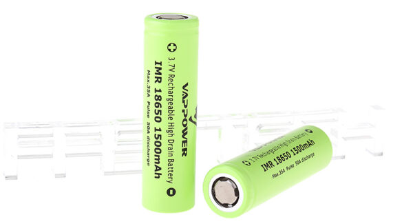 """Authentic VAPPOWER IMR 18650 3.7V """"1500""""mAh Rechargeable Li-Ion Batteries (2-Pack)"""