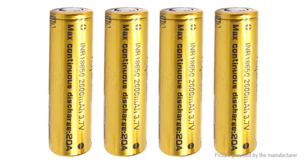Authentic Vapcell INR 18650 3.7V 2600mAh Rechargeable Li-ion Battery (4-Pack)