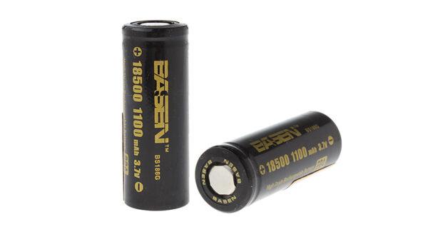 BASEN IMR 18500 3.7V 1100mAh Rechargeable Li-ion Battery (2-Pack)