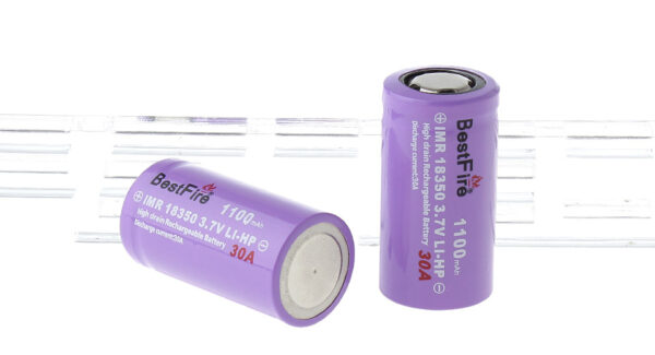 "BestFire IMR 18350 3.7V ""1100mAh"" Rechargeable Li-MP Batteries (2-Pack)"
