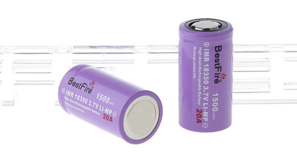 "BestFire IMR 18350 3.7V ""1500mAh"" Rechargeable Li-MP Batteries (2-Pack)"