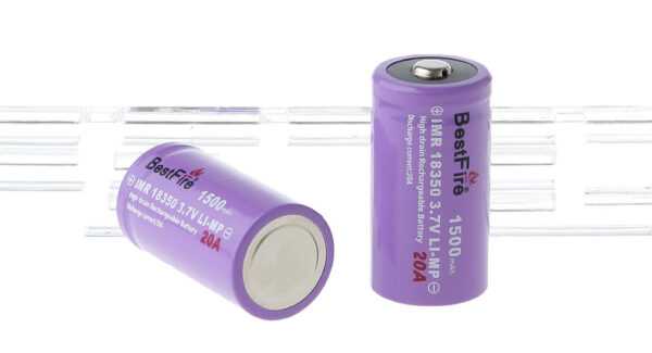 """BestFire IMR 18350 3.7V """"1500mAh"""" Rechargeable Mi-MP Batteries (2-Pack)"""