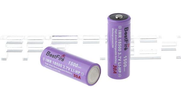 "BestFire IMR 18500 3.7V ""1500mAh"" Rechargeable Li-HP Batteries (2-Pack)"