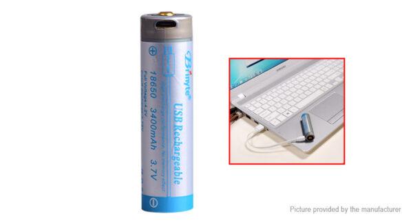 Brinyte 18650 3.7V 3400mAh USB Rechargeable Li-ion Battery