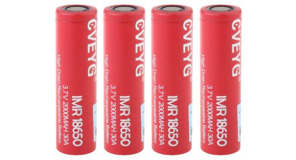 CVEYG IMR 18650 3.7V 2000mAh Rechargeable Li-ion Battery (4-Pack)