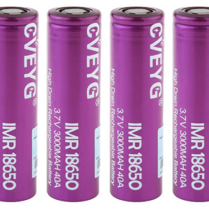 CVEYG IMR 18650 3.7V 3000mAh Rechargeable Li-ion Battery (4-Pack)