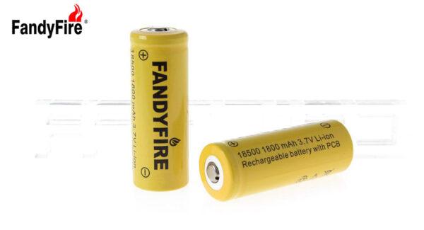 "FandyFire 18500 3.7V ""1800mAh"" Rechargeable Li-Ion Batteries (2-Pack)"