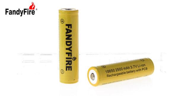 "FandyFire 18650 3.7V ""2500mAh"" Rechargeable Li-Ion Batteries (2-Pack)"