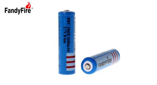 "FandyFire BRC 18650 3.7V ""2600mAh"" Rechargeable Li-Ion Battery (2-Pack)"