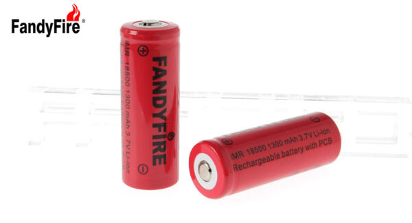 "FandyFire IMR 18500 3.7V ""1300mAh"" Rechargeable Li-Ion Batteries (2-Pack)"
