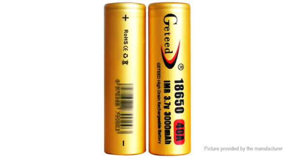 GETEED IMR 18650 3.7V 3000mAh Rechargeable Li-ion Battery (2-Pack)