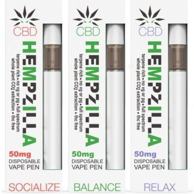 Hempzilla 50mg Disposable CBD Vape Pens (Choose Options)